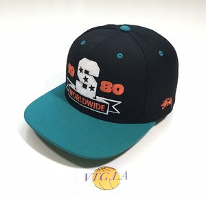 VINTAGE STUSSY SNAPBACK HAT CAP BLACK SUPREME BIG LOGO SPELL OUT AQUA for Sale in Los Angeles, CA
