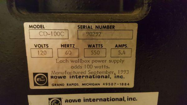 1993 ROWE AMI CD 100C LaserStar Jukebox for Sale in Apache Junction, AZ -  OfferUp