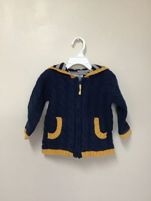 Used, Baby Boden navy & yellow full zip hooded 100% lambswool sweater… Size 12-18 mos for Sale for sale  Manasquan, NJ