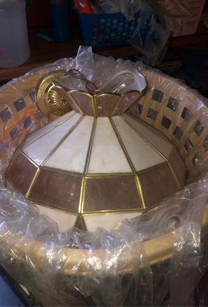 Perfect condition stain glass lighting fixture powder pink milk glass not a scratch on it for Sale in Millbury, MA