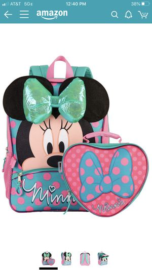 """Disney Minnie Mouse 16"""" Backpack and Lunch Bag. 2 pieces set 3D Bow for Sale in San Francisco, CA"""