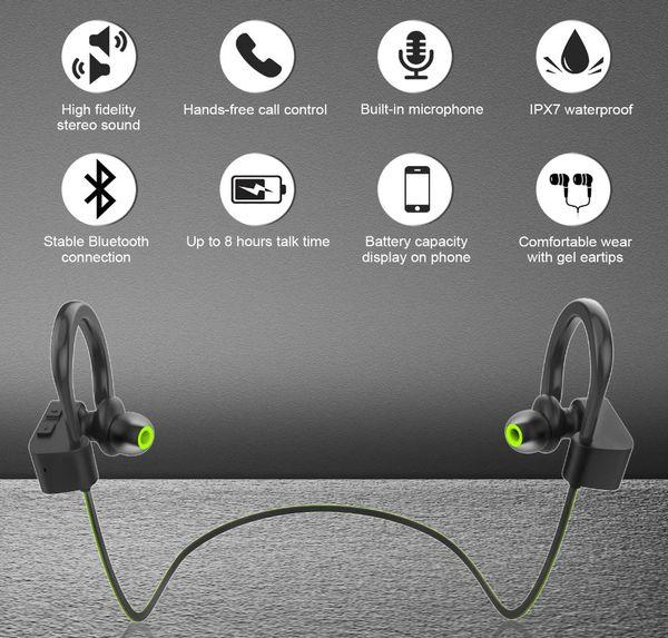 LM005 LETSCOM Bluetooth HeadphonesU8I (BLACK &GREEN)