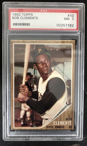 """1962 Topps Roberto """"Bob"""" Clemente #10 PSA NM 7 Baseball Card Pittsburgh Pirates for Sale in Harmony, PA"""