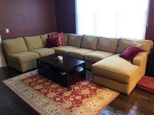 Sectional - Ethan Allen Detachable 7 person microfiber sectional w/Chase for Sale in San Mateo, CA