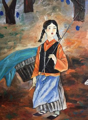 Original Oil Painting of Young Girl Shepard for Sale in Alexandria, VA