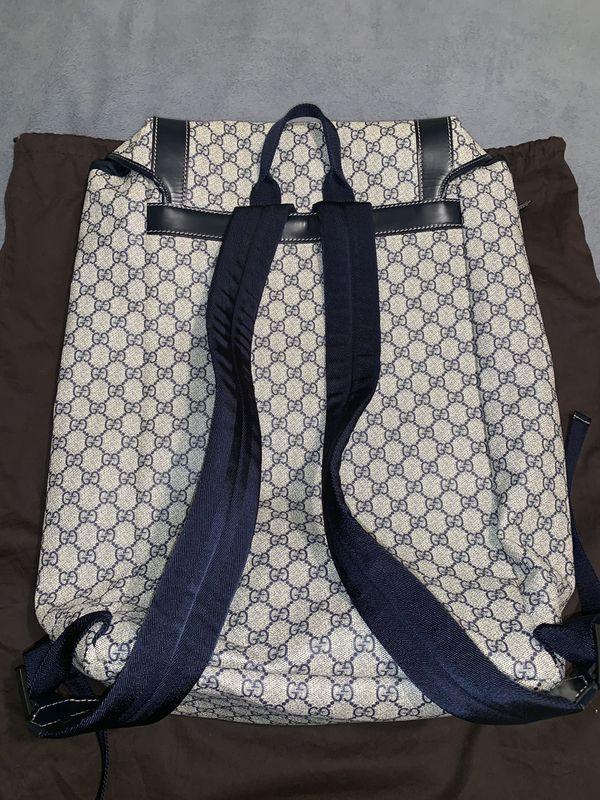 GUCCI Supreme Men's Travel Back Pack/Navy Blue