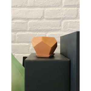 Small terra-cotta geo succulent planter with dish for Sale in Brooklyn, NY