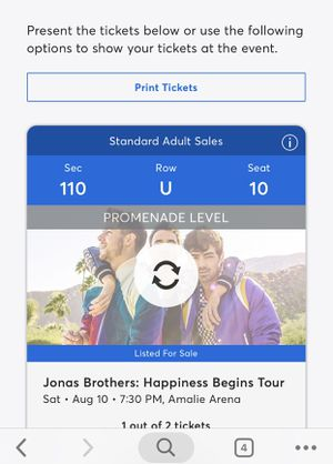 Jonas brothers tickets! Will take best offer for Sale in Tampa, FL