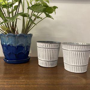 2 Tin Plant Pots for Sale in Warwick, RI