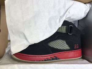 DS 2008 Nike Air Force 1 x Air Jordan 5 AJF5 Bred Black Red Size 10.5 New for Sale for sale  Renton, WA