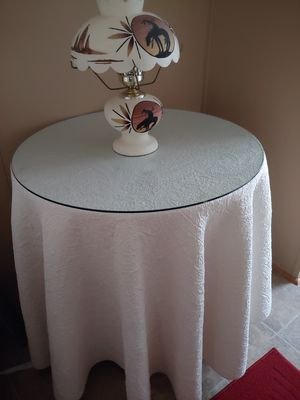 Very sturdy glass top round table spread included..No Holds!! for Sale in Winston-Salem, NC