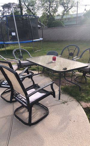 Outdoor furniture glass tables and chairs for Sale in Tempe, AZ