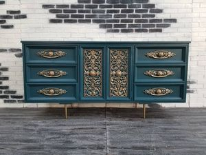 MCM/ Regency/ Rococo Dresser. 9 drawers. Royal blue for Sale in Westchester, CA