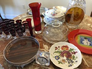Antique silver trays $10 each, soup terrine, cake plate, 12 burgundy glasses for Sale in Fort Lauderdale, FL