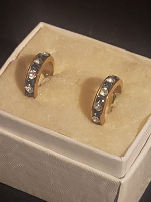 14K gold, Diamond and Sapphire mini hoop earrings for Sale in San Rafael, CA