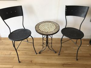 Set of two iron chairs with mosaic marble table for Sale in New York, NY