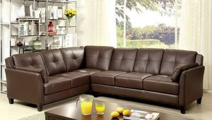 Brown leatherette sofa sectional couch/No Credit Needed No Credit Check Apply Today for Sale in Downey, CA