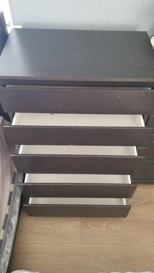 Ikea 5 Drawers Dresser/Clothes Storage Chest/Organizer Stand Unit- Dark Brown for Sale in Stanton, CA