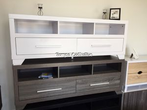 Alexa Tv Stand for Tvs up to 70 inch, Distressed Gray, SKU# ID171916TVTC for Sale in Santa Fe Springs, CA