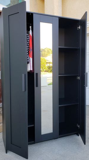 PERFECT CONDITION!! IKEA 3 Door Mirrored Mirror Closet Armoire Wardrobe Cabinet Unit Stand + 1 Clothes Rod + Shelves INCLUDED for Sale in Monterey Park, CA