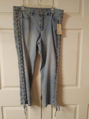 Michael Kors Women Blue Lace Up Skinny Jeans Size 14 for Sale in OSBORNVILLE, NJ