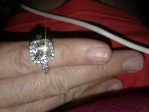 Women's engagement ring size 7 sterling silver and diamonds large stone is white Saphire for Sale in Indianapolis, IN