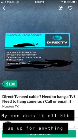 Need Cable Direct Tv? Need to hang a TV? Message us right now! for Sale in Houston, TX