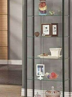 5-Shelf Glass Curio Display Cabinet Tower Black And Clear 950170 for Sale in Missouri City,  TX