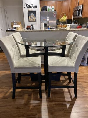 Dining table glass top with 4 chairs for Sale in Vienna, VA