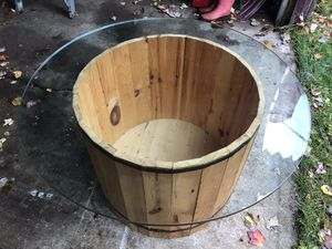 Wooden barrel coffee table for Sale in Negaunee, MI