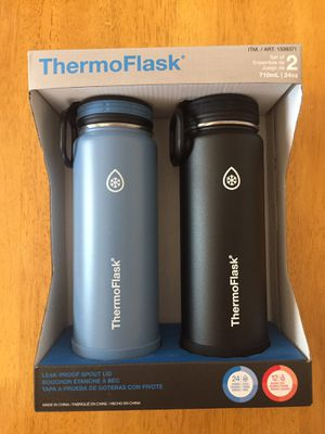 ThermoFlask 24- Ounce Double Wall Vacuum Insulate Stainless Steel Water Bottles Blue and Black for Sale in San Jose, CA
