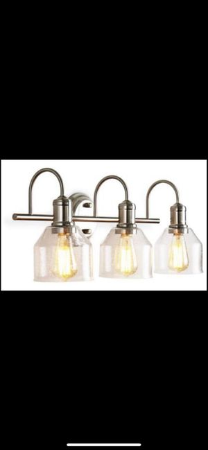 Vanity Lights, Brushed Nickel Bathroom Lighting Fixtures Over Mirror Modern Glass Shade Wall Sconce(3 Lights-Exclude Bulb) for Sale in Colonial Heights, VA