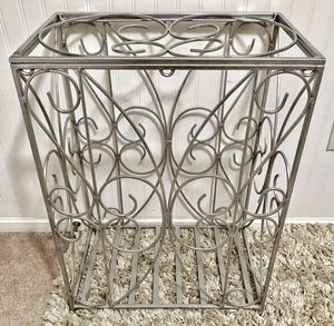 Heavy Scrolled Wrought Iron Metallic Silver Hamper/Storage Container for Sale in Crofton, MD
