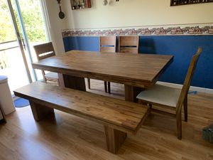 Farmhouse table, bench and 4 chairs for Sale in Greensburg, PA