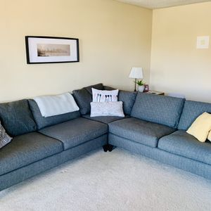 Crate And Barrel L Shaped Sectional Couch Dark Grey for Sale in Los Angeles, CA
