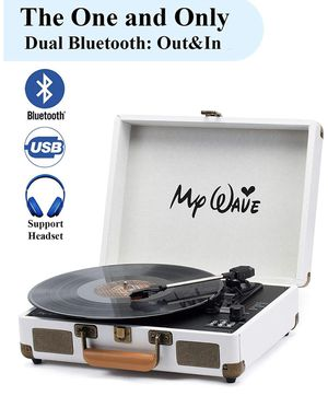 Bluetooth Wireless Turntable Portable Record Player with Built-in Stereo Speakers, 3-Speed,Vinyl-to-MP3 Recording,Both Bluetooth Transmit Out & Recei for Sale in Watchung, NJ