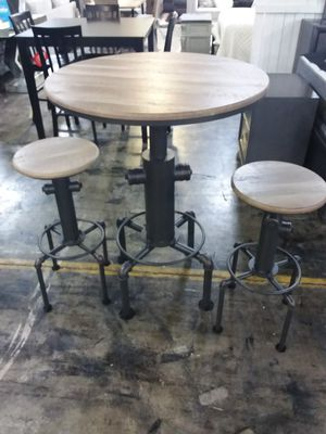 INDUSTRIAL STYLE TABLE AND TWO STOOLS for Sale in Mansfield, TX