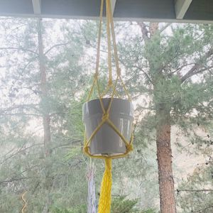 Macrame Plant Hanging Holder Pot yellow multicolor Garden indoor outdoor for Sale in Riverside, CA