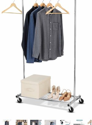 Bextsware Clothes Garment Rack on Wheels, Expandable Single Rail Heavy Duty Commercial Grade Hanging Closet Organizer With Mesh Bottom Shelves For Bo for Sale in Los Angeles, CA