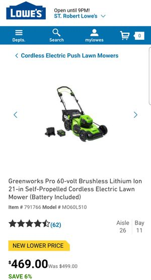 Electric lawn mower Greenworks Pro 60 volt 21 in self propelled cordless battery included for Sale in Saint Robert, MO