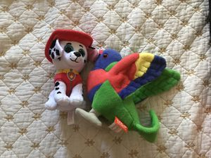 Vtech soft toy, ty marshall and parrot for Sale in Warrenton, VA