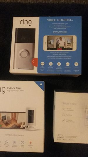 ring 720p doorbell cam. ring 1080p indoor security camera (plug in). And a ring chime pro. for Sale in Newton, MA