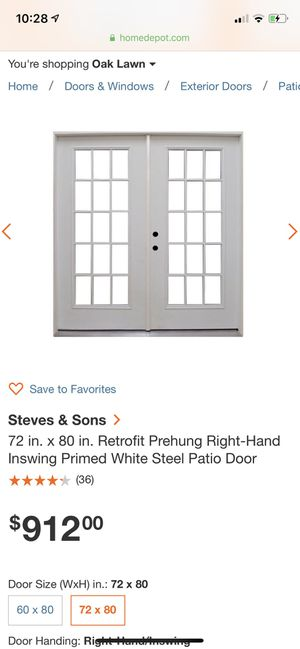 Steel white French doors for Sale in Bedford Park, IL