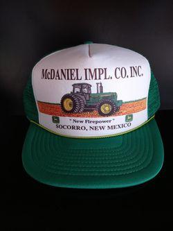 Vintage Green White McDaniel IMPL. CO. INC. New Firepower Socorro New Mexico John Deere Tractor Trucker Hat for Sale in Rialto,  CA
