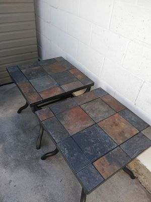 """Ashley Furniture Slate Top End coffee Tables with Baskets 24"""" x 24"""" 23.5"""" for Sale in Gardena, CA"""