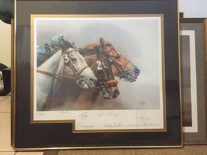 Michael Geraghty 8 LG Collectibles autographed matted and glass framed art Horse Racing for Sale in Tampa, FL