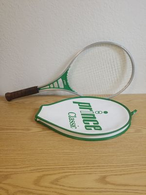 Vintage 1982 Prince Classic Green Tennis Racket 4 5/8 Grip with Cover for Sale in Fullerton, CA