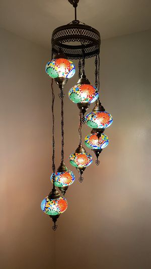 Handmade Turkish Mosaic Hanging Lamp for Sale in Los Angeles, CA
