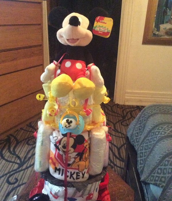 Three tier Mickey Mouse diaper cake for a boy