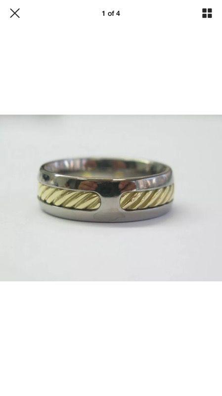 David yurman 18kt & ss wire ring sz 9 7.3mm